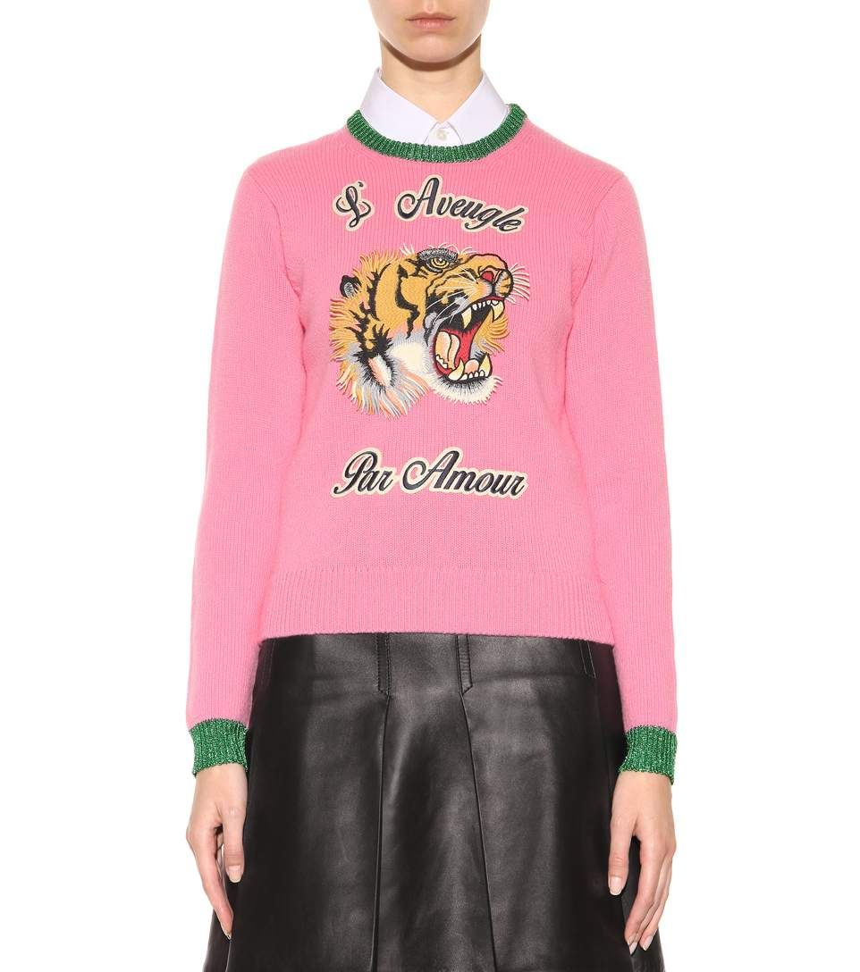 gucci pink tiger sweater | ... sweater with appliqué - Luxury ...