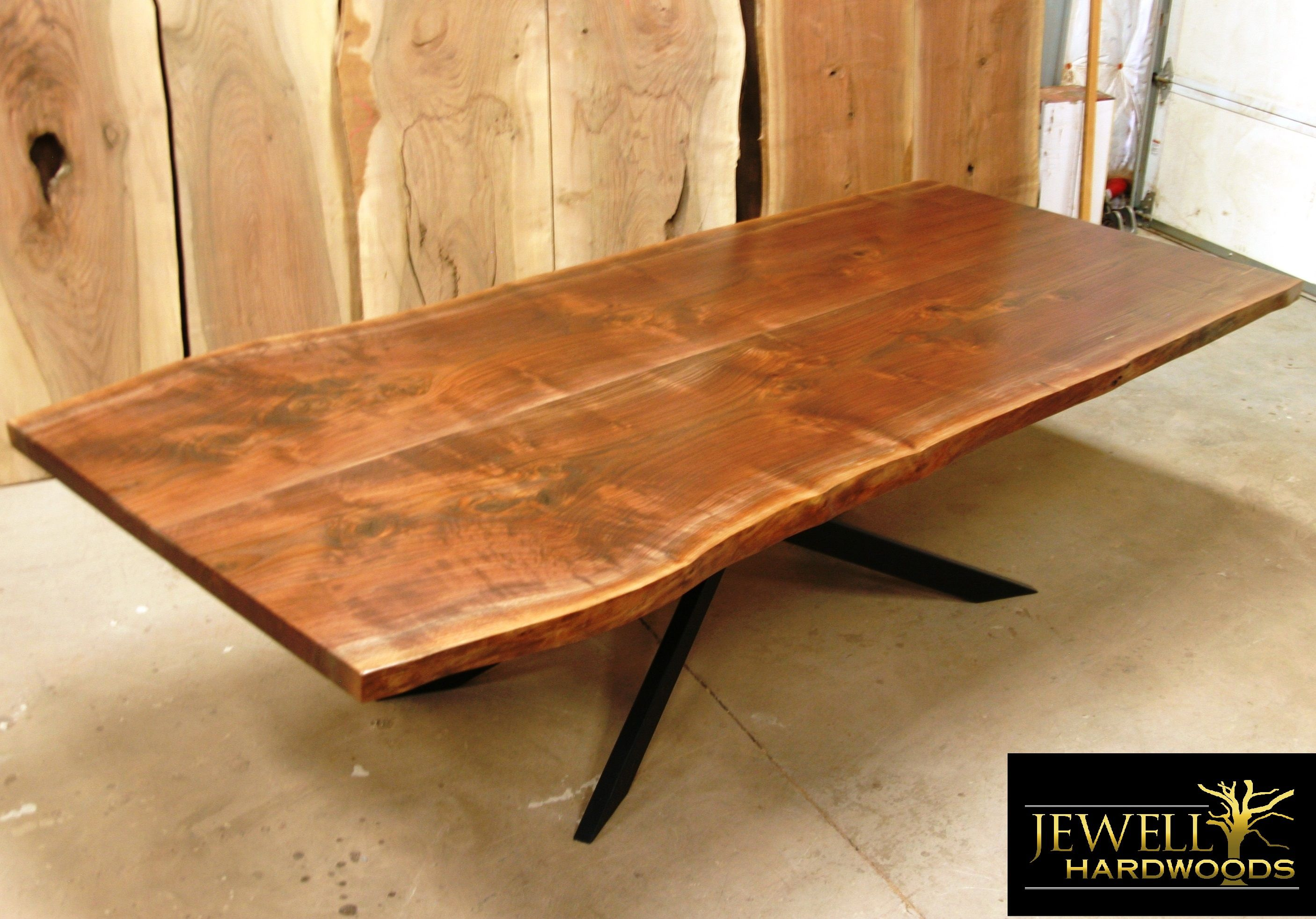 Walnut trestle dining table - 10 Ft Black Walnut Book Matched Dining Table With Xavier Base Usman Black