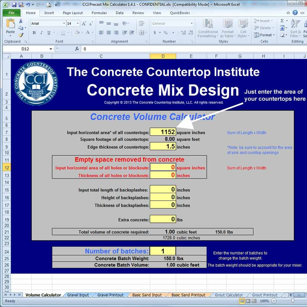Precast Concrete Countertop Mix Calculator