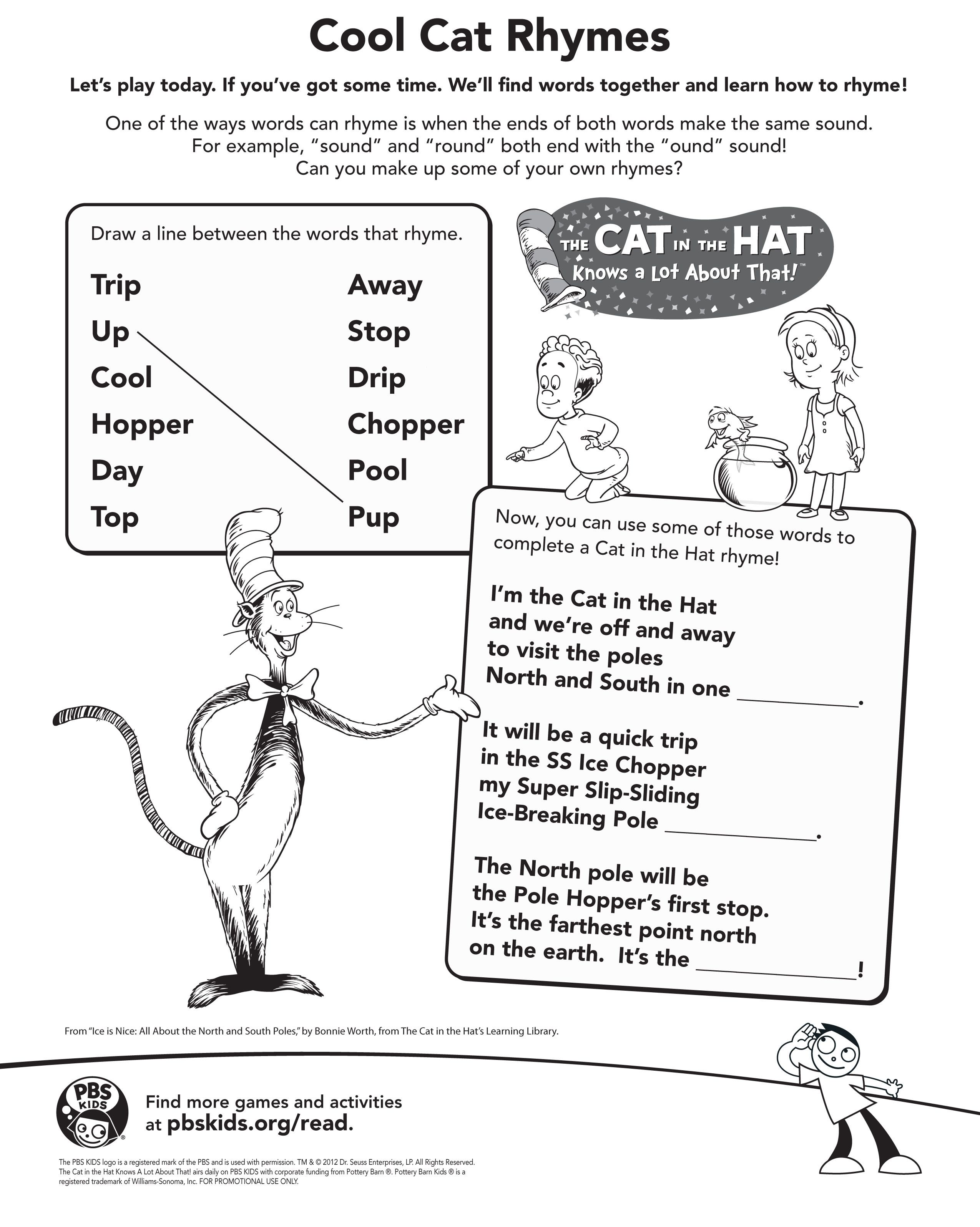 Cat in the Hat - Cool Cat Rhymes activity - RAA