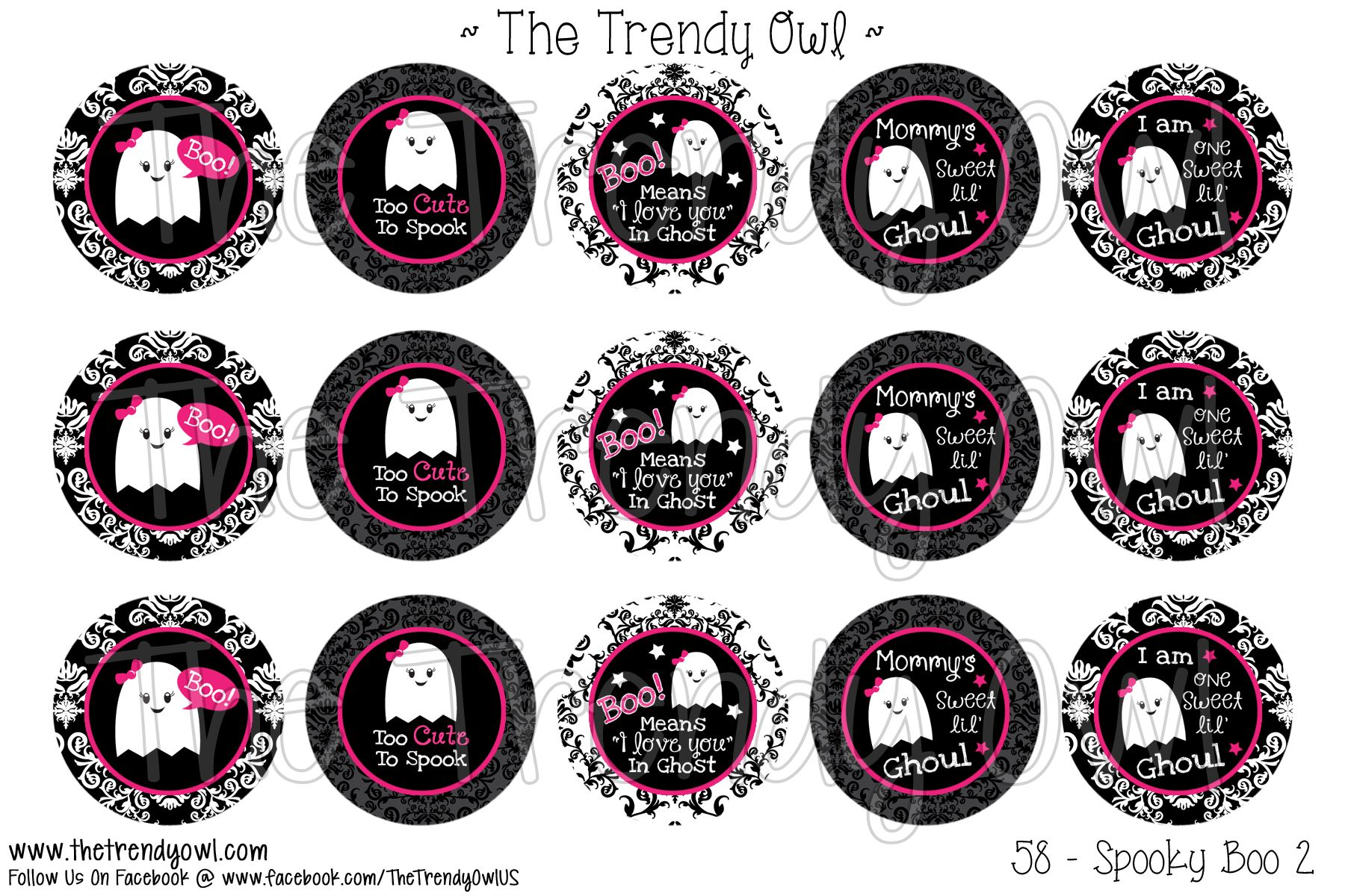 Diy halloween ghost3 - Spooky Boo Ghost 3 Shop Our Digital Bottle Cap Images Www Thetrendyowl