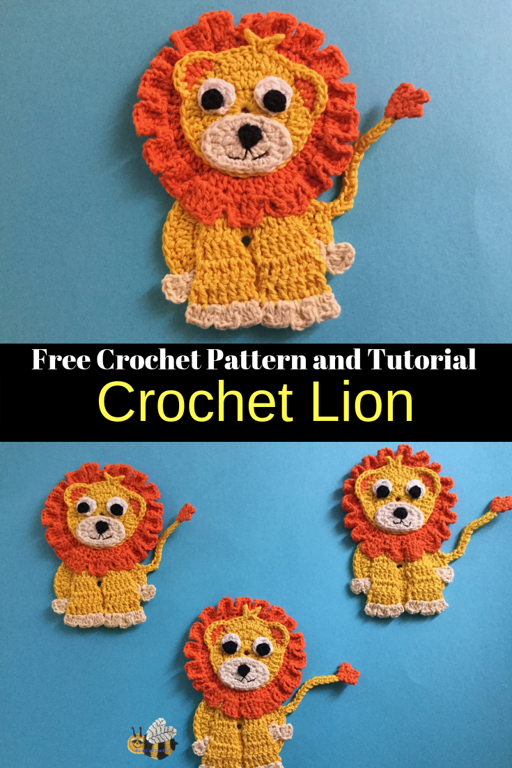 Crochet Lion Pattern - Crochet Animals #crochetapplicates
