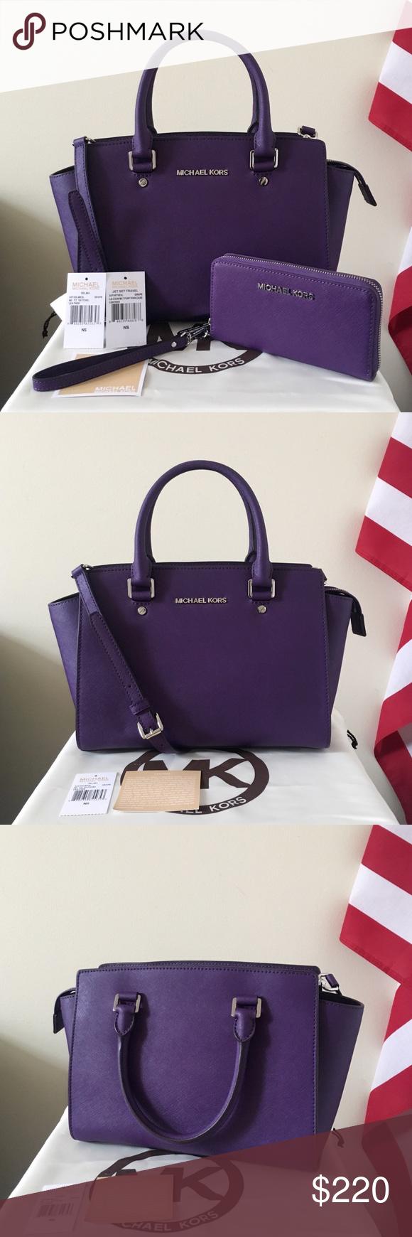 Michael Kors Selma Satchel Medium Set Beautiful And Elegant Lilac Authentic Purple Saffiano Leather With Silver