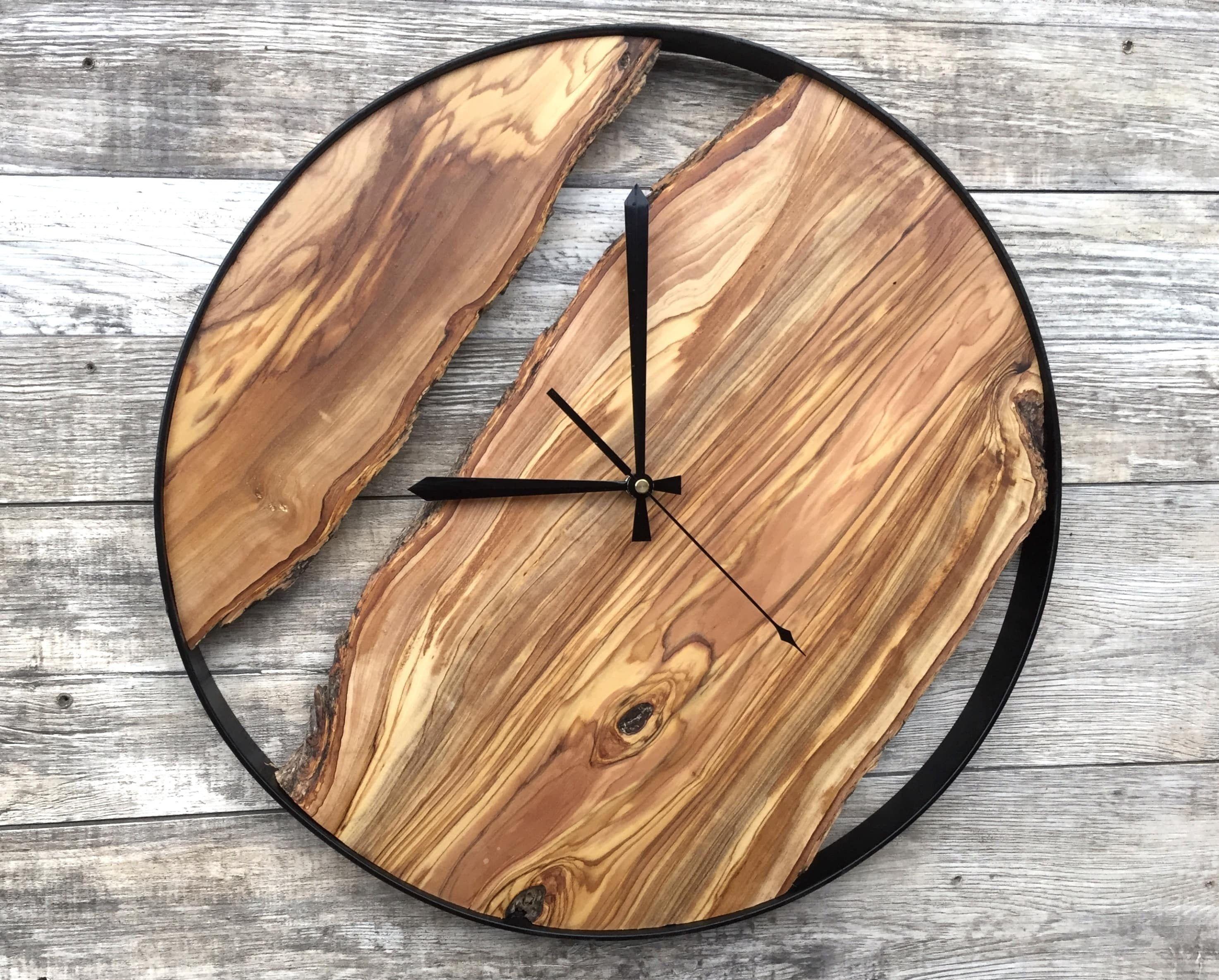 Large Wall Clocks Wood Slice Art Wooden Wall Clock Rustic Wood Wall Clock Large Wall Clock Tree Slice Clock Wood Natural Clock In 2020 Wood Wall Clock Rustic Wall Clocks Large