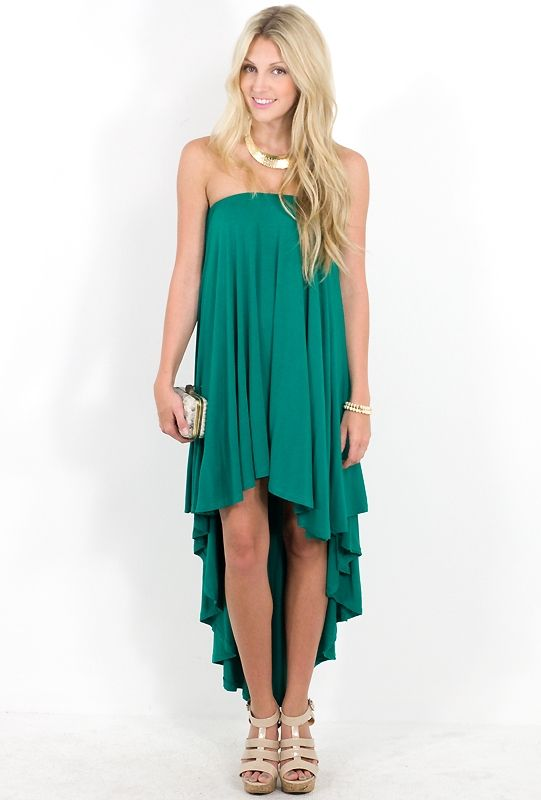 The perfect wedding guest dress. The color is stunning, and the high ...