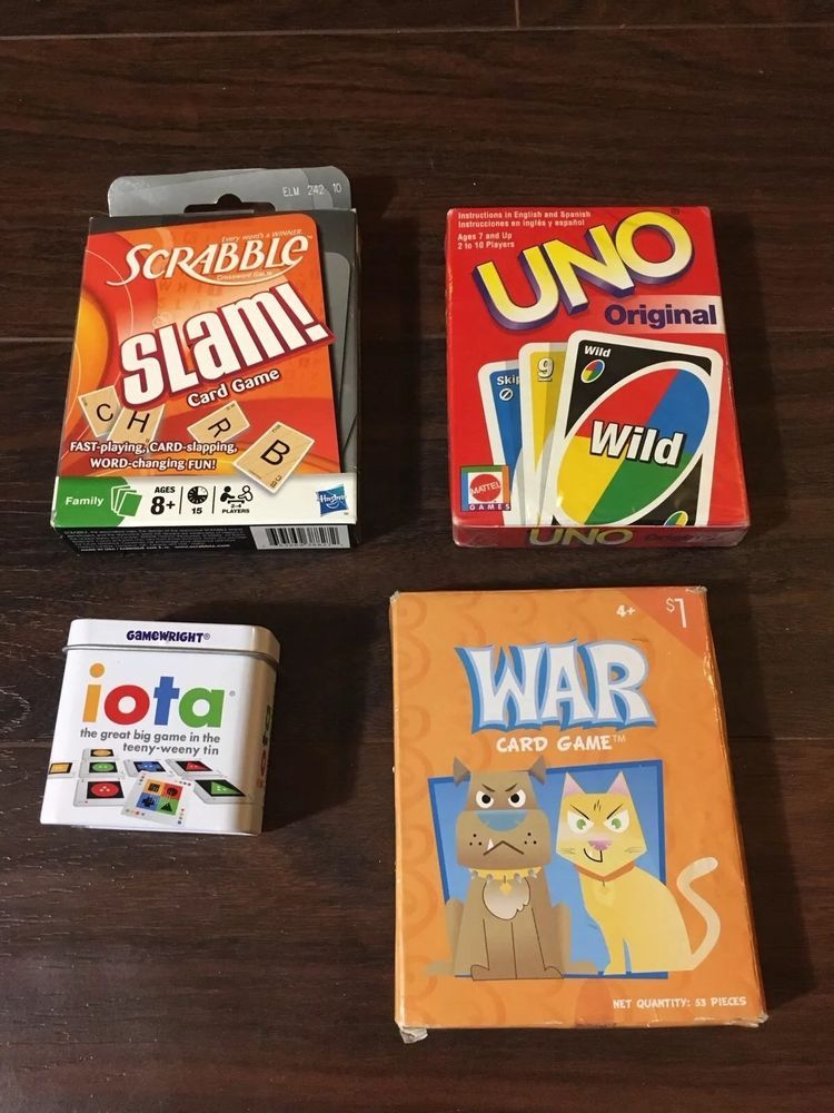 Uno Scrabble Slam Iota War Family Cards Travel Games New Lot Ebay