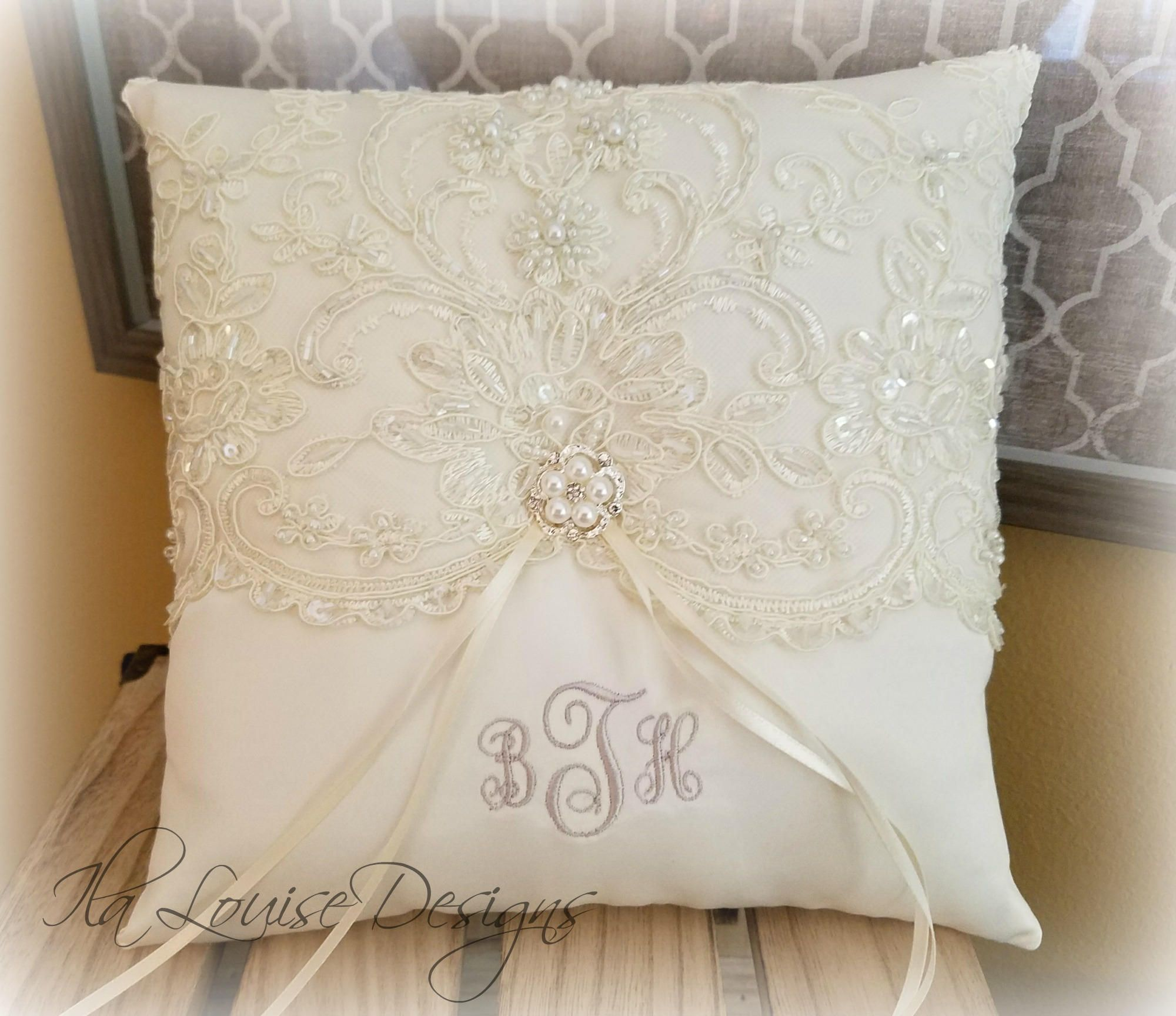Beaded Alencon Lace Ring Bearer Pillow Ivory Ring Bearer Pillow