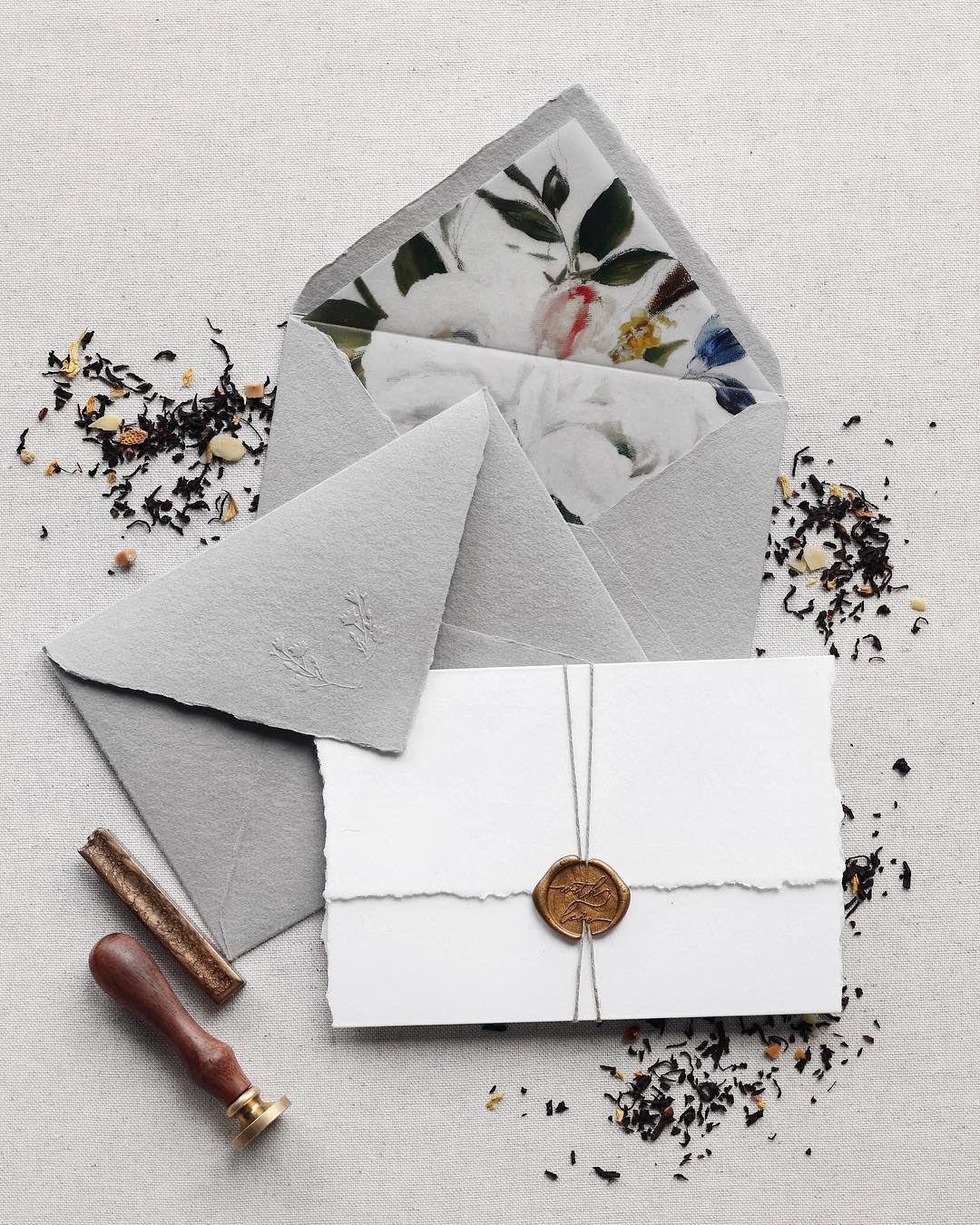 Grey Handmade Paper Envelopes With Vellum Liner Wedding Invitation