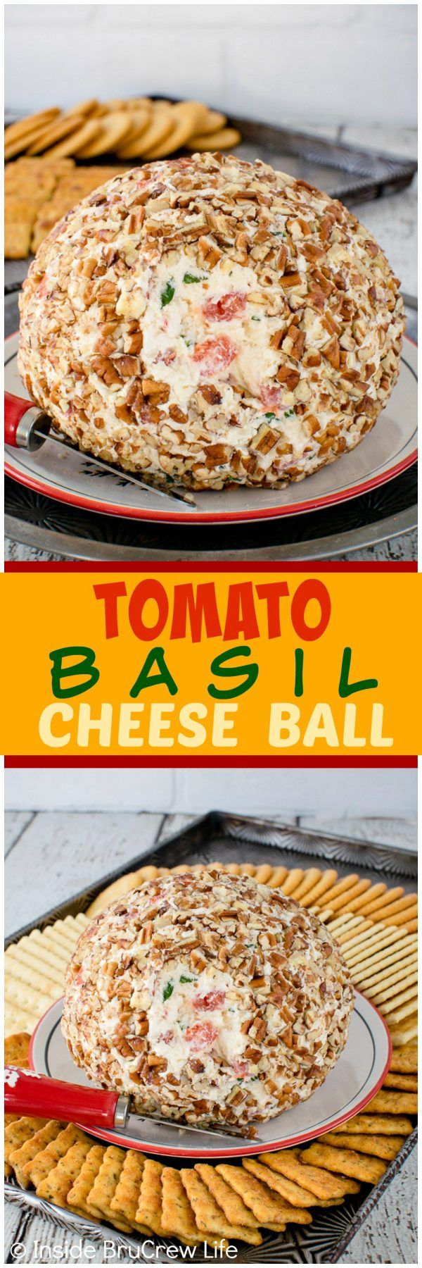 Tomato Basil Cheese Ball - three cheeses, fresh tomatoes, herbs, & nuts give this easy dip lots of flavor. Great appetizer for game day parties!