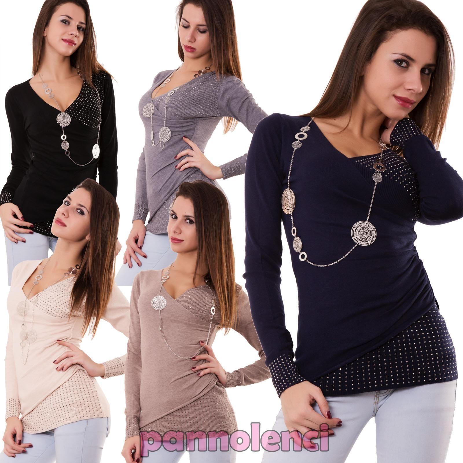 Pullover donna maglione maglia strass maniche lunghe portafoglio nuovo 866-3 | eBay