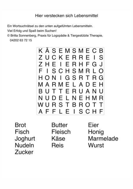 Buchstabensalat Lebensmittel - Sprache  Wörter suchen rätsel