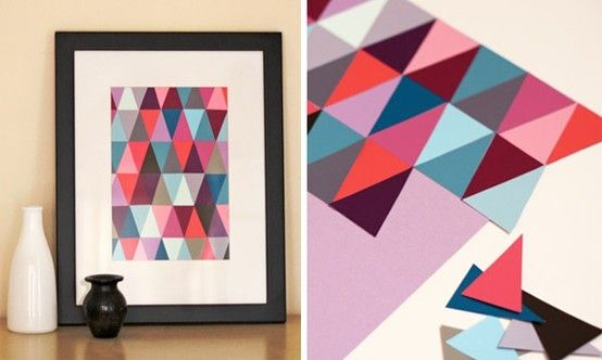 DIY Geometric Paint chip art