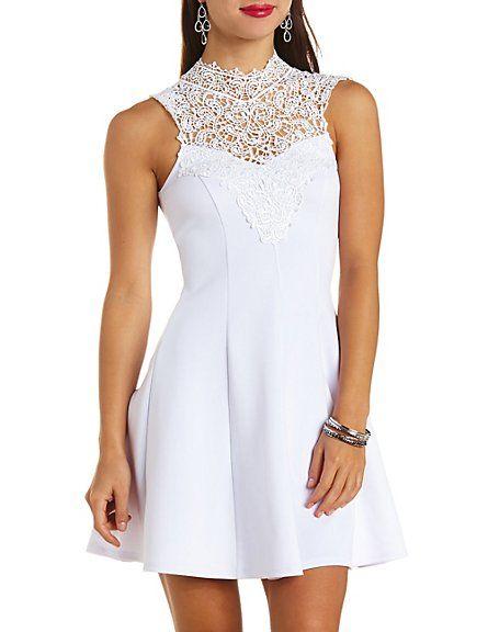 517b1af0ee Crochet Lace Mock Neck Skater Dress  Charlotte Russe