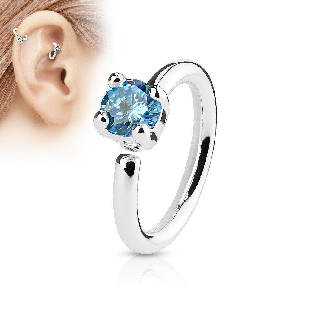 Piercing nose at home with needle  Silver Annealed Hoop Ring Blue Crystal Nose  Ear Piercing Ring