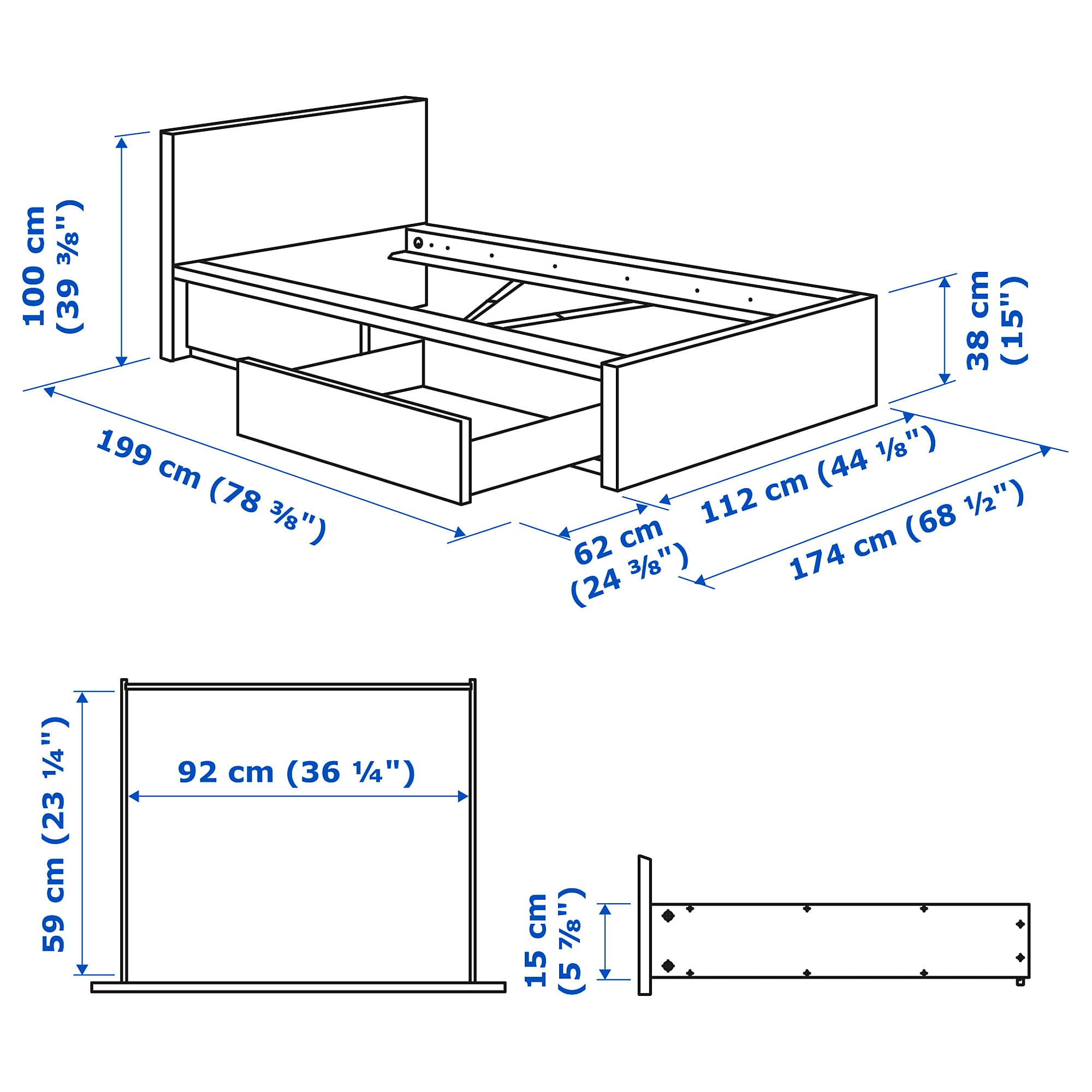 Ikea Malm High Bed Frame 2 Storage Boxes Brown Stained Ash Veneer High Bed Frame Malm Bed Frame Malm Bed