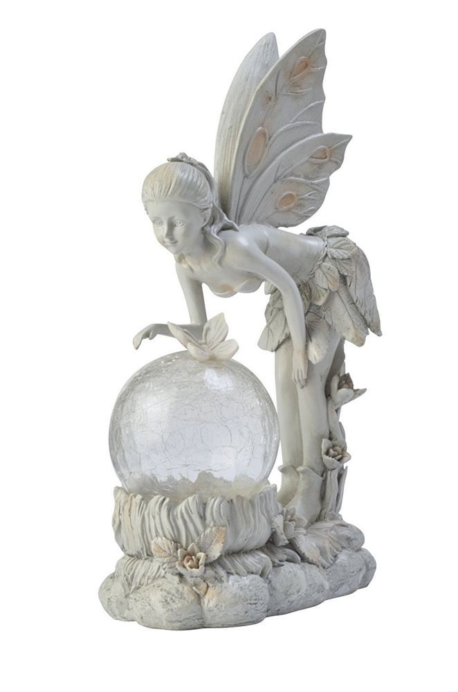 Angel Fairy Figurine Statue Garden Decor Outdoor Solar Light Color Changing Wing Moonrays