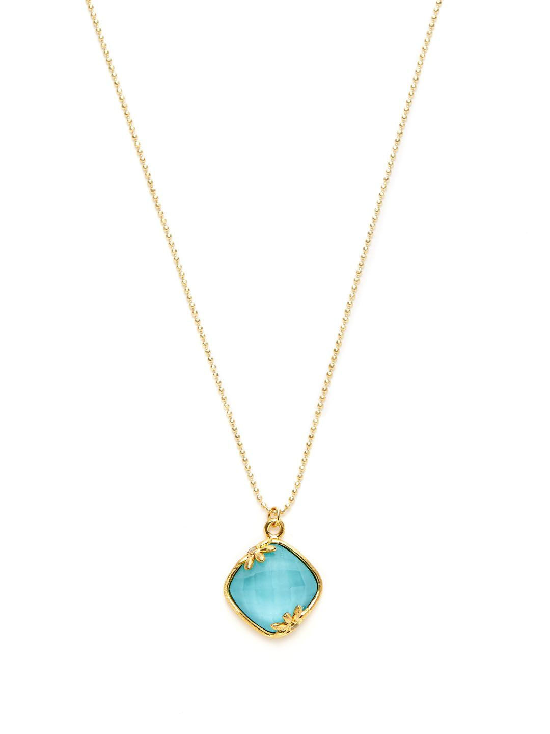 Rock Crystal & Turquoise Pendant Necklace by Indulgems at Gilt