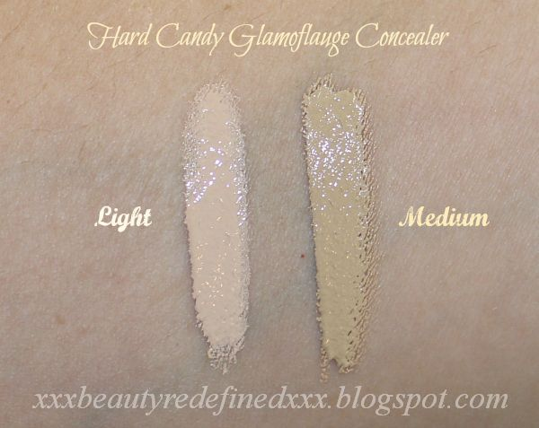 Hard Candy Glamoflauge Heavy Duty Concealer swatches in Light and ...