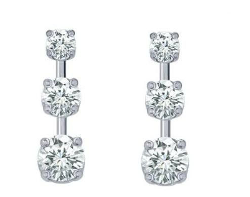 Angara 3 Stone Princess Cut Diamond Drop Earrings fdCaeo