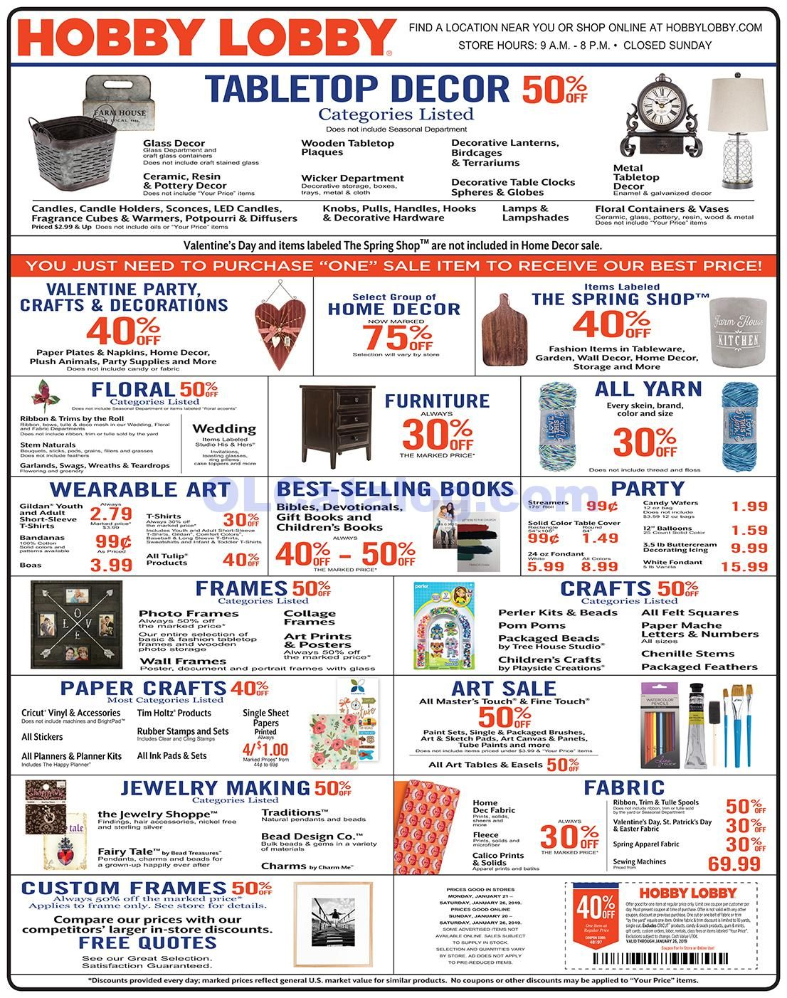 Hobby Lobby Weekly Ad January 20 26, 2019. Do you know