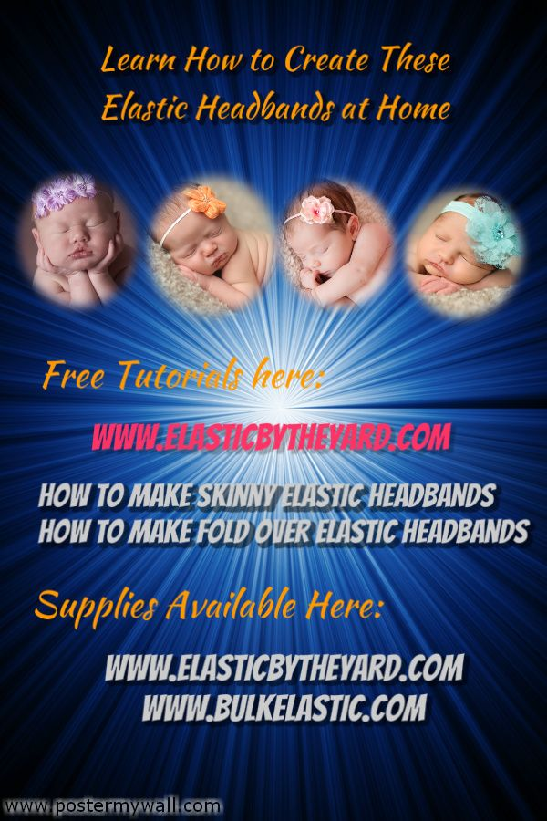 Learn How to Create These Elastic Headbands at Home in easy-to-follow Steps.  Visit ElasticbytheYard.com for free tutorials, and supplies.