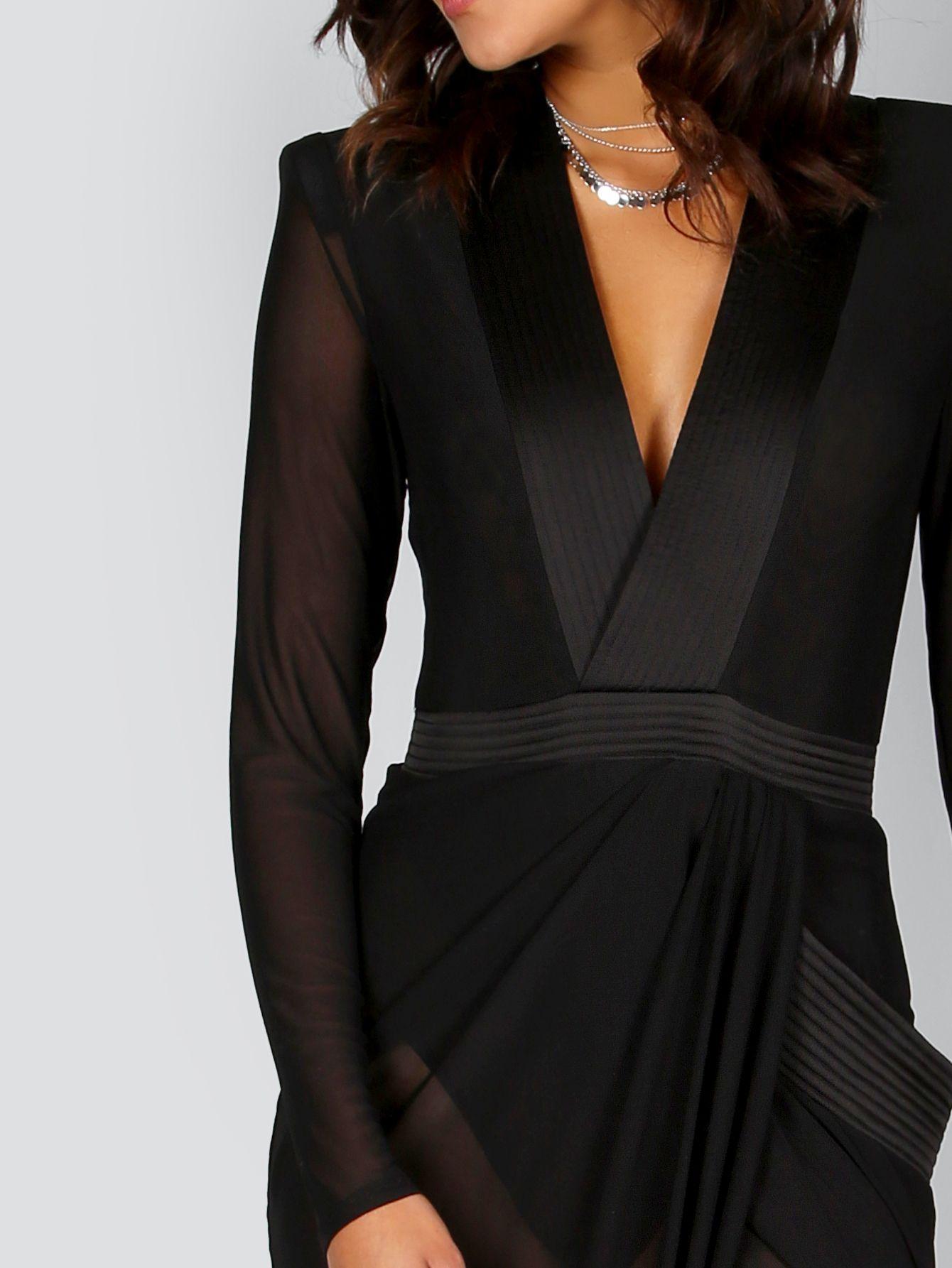 Deep V Neck Shoulder Pads Sheer Wrap Dress BLACK -SheIn(Sheinside ... a1e1c74d8