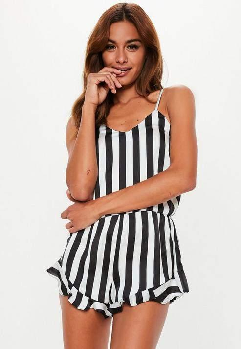 82490985de Missguided Black Satin Monochrome Frill Cami Pyjama Set  Satin  Monochrome Missguided