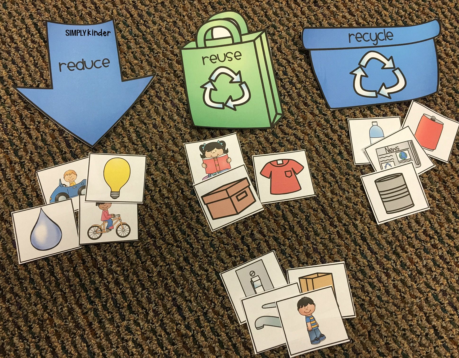 free printable recycling sort used 3 ways recycle pinterest earth day activities earth. Black Bedroom Furniture Sets. Home Design Ideas