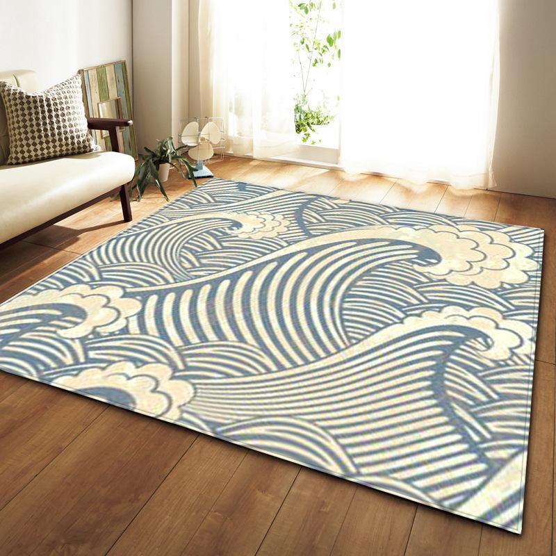 Ancient Asian Blue Wave Print Area Rug Floor Mat In 2019 Floor