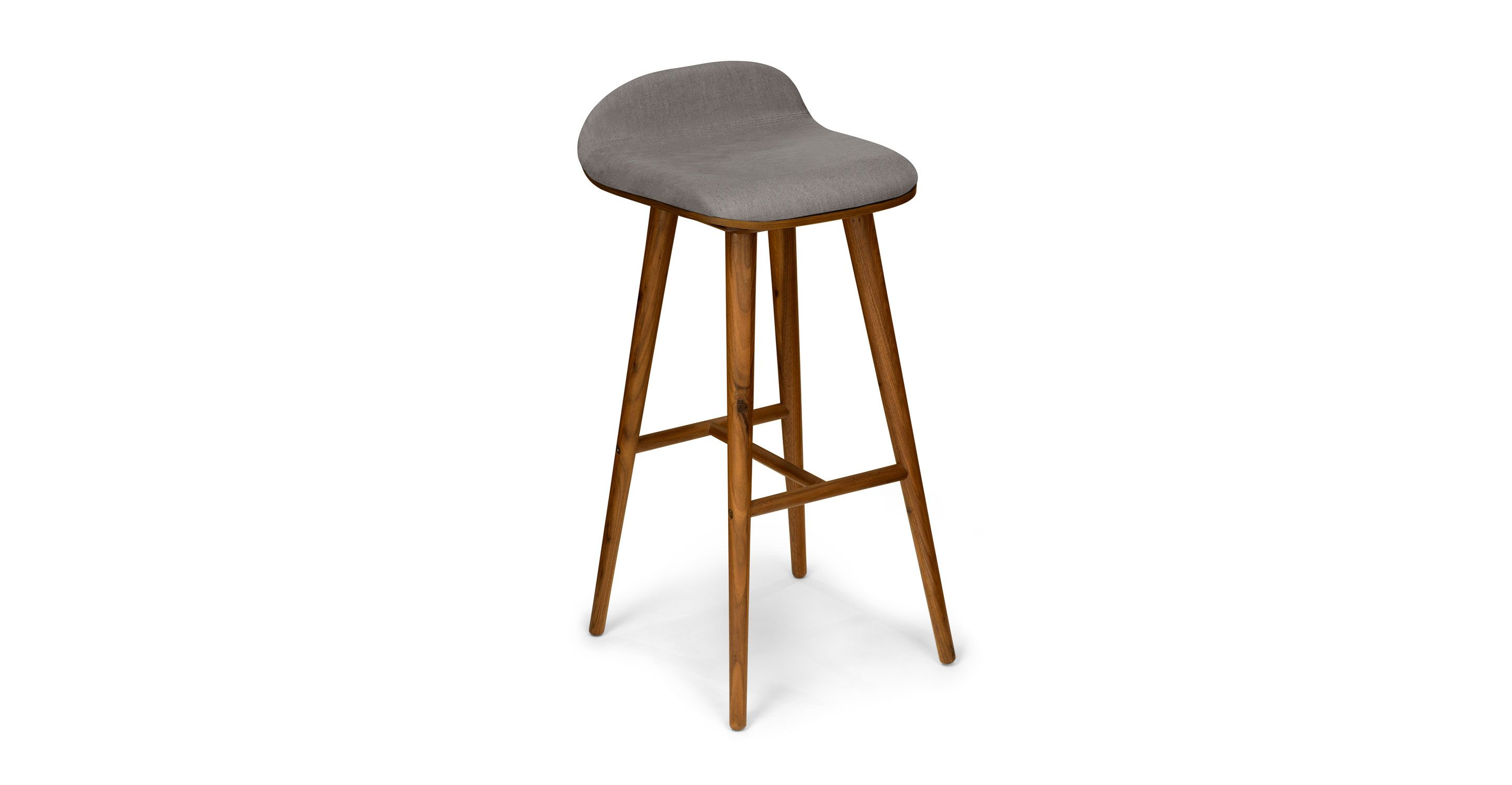 gray bar stool in walnut wood finish  article sede modern furniture. gray bar stool in walnut wood finish  article sede modern