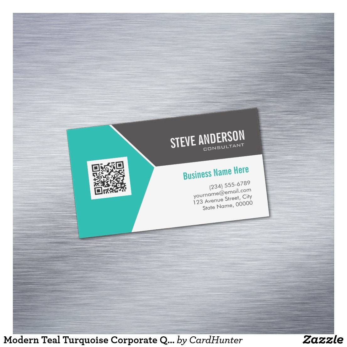 Modern Teal Turquoise Corporate QR Code Logo Magnetic Business Card ...
