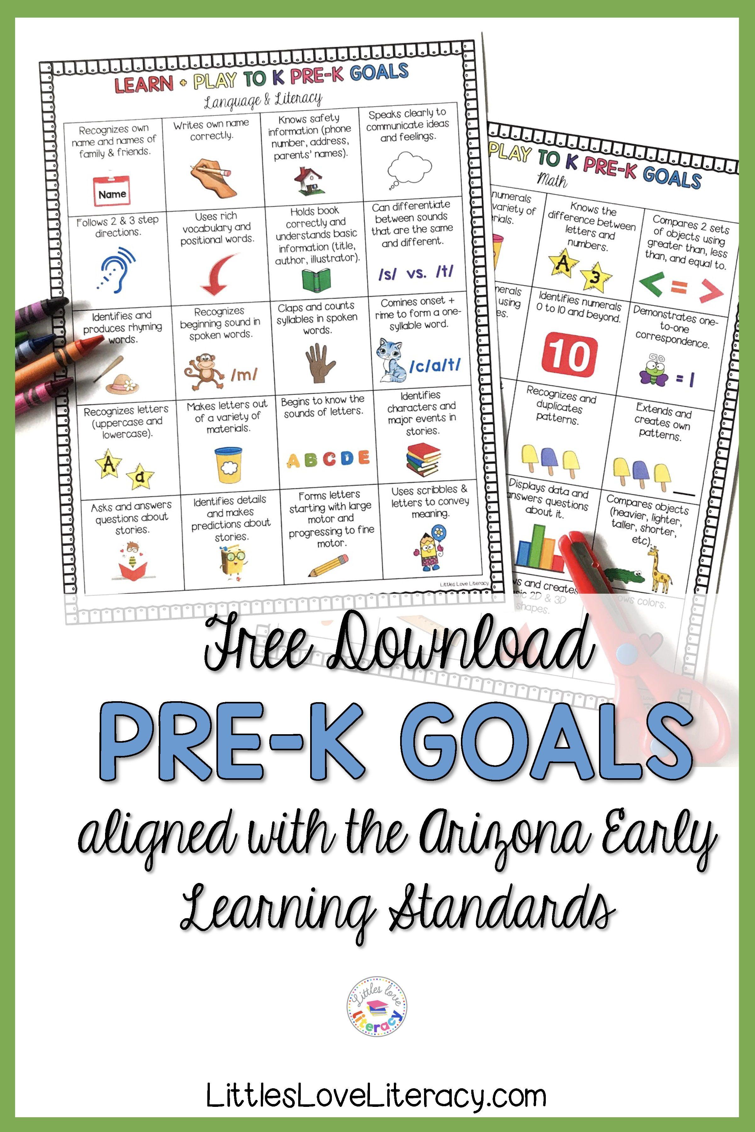 Free Printable Pre K Goals For Preschool Parents Teachers Before Kindergarten Kindergarten Math Curriculum Kindergarten Math Activities [ 3600 x 2400 Pixel ]