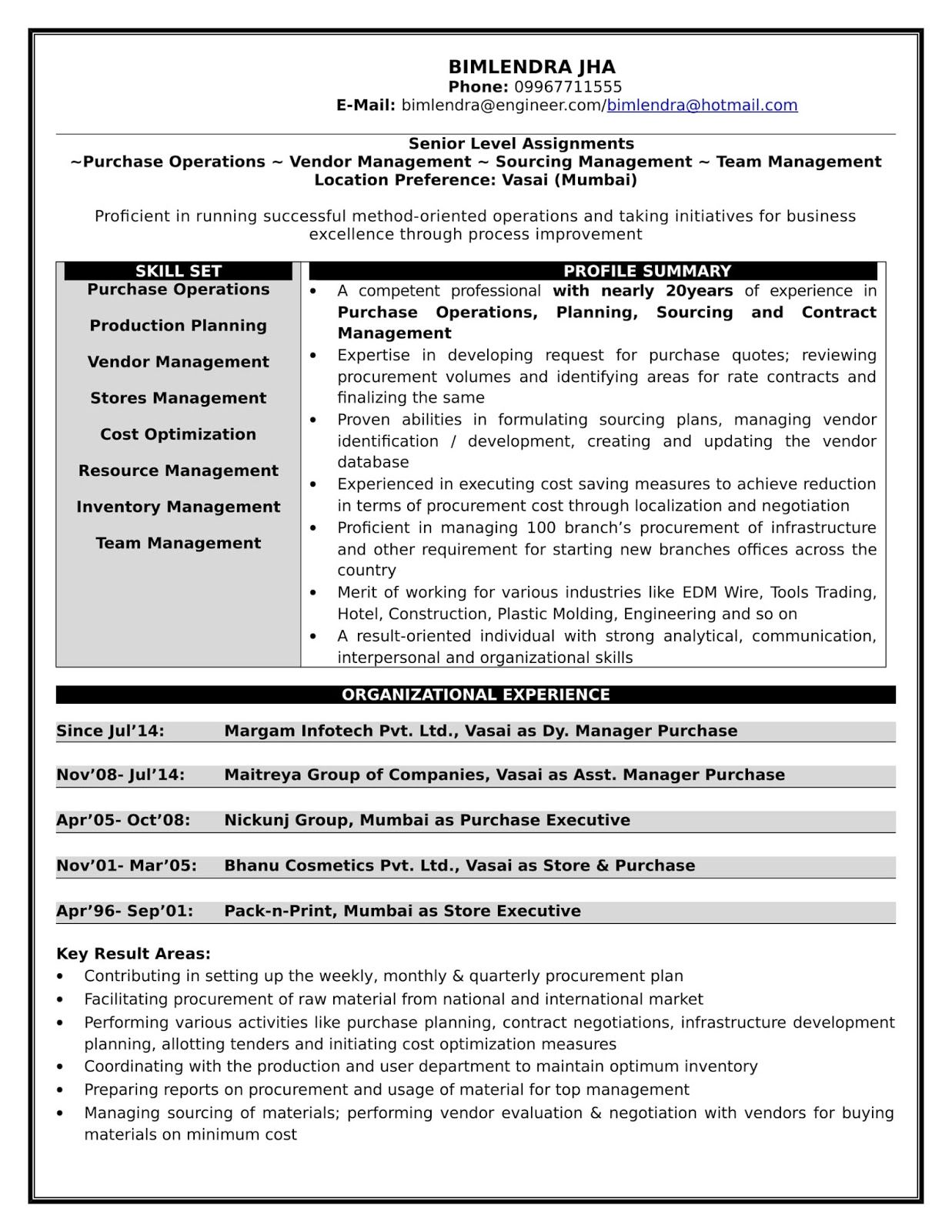 Bimlendra Jha Resume For Purchase Management Management Purchase Manager Resume