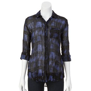 Rock and Republic Plaid Chiffon Crinkle Top