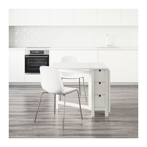 NORDEN / LEIFARNE Table And 2 Chairs, White, White Chrome Plated