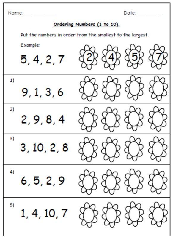 0 20 Worksheet Ordering Numbers