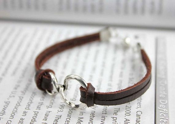 deep brown leather bracelet with antique silver charm by helloers, $9.00