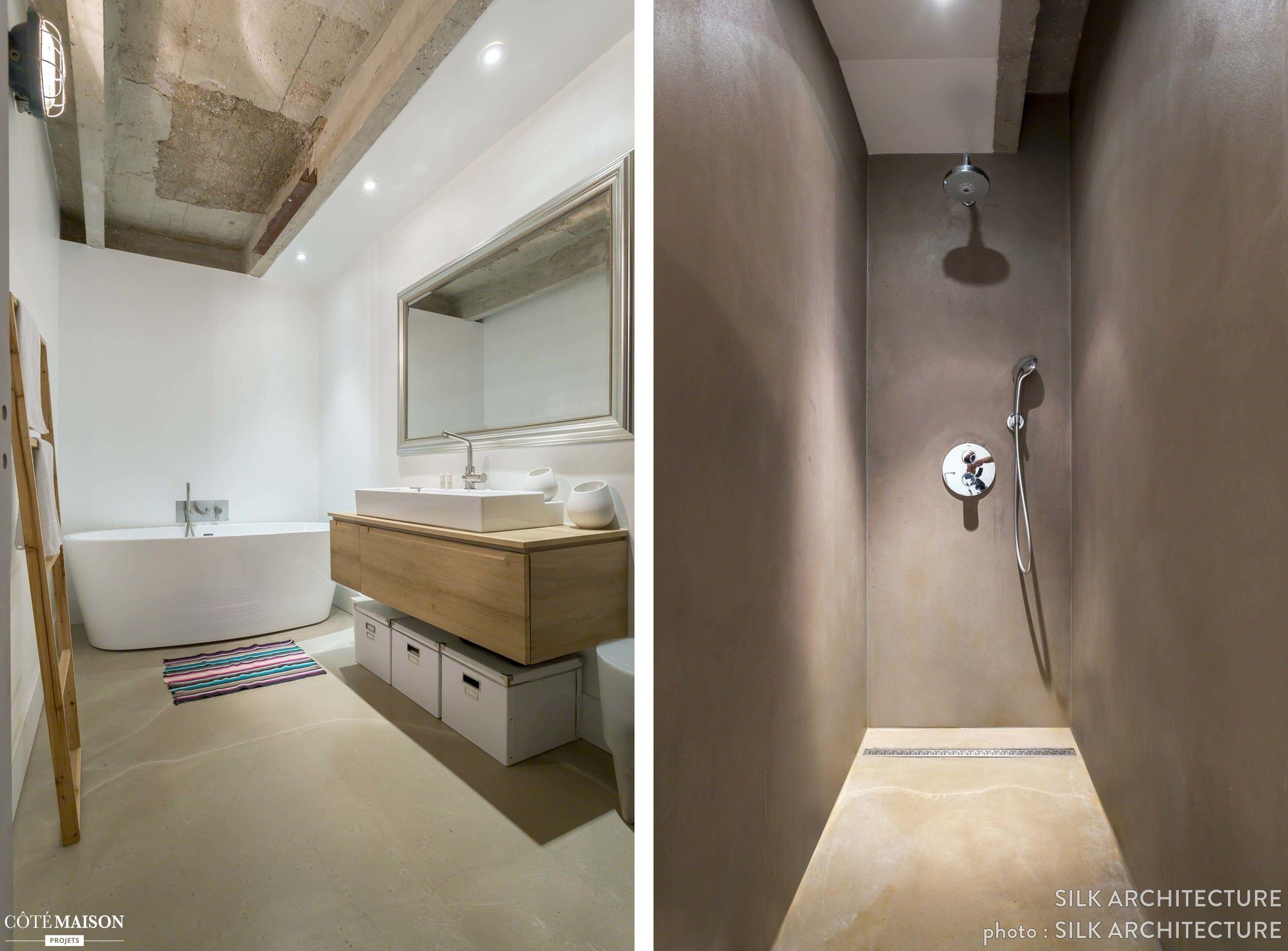 une grande salle de bains atypique avec douche l. Black Bedroom Furniture Sets. Home Design Ideas