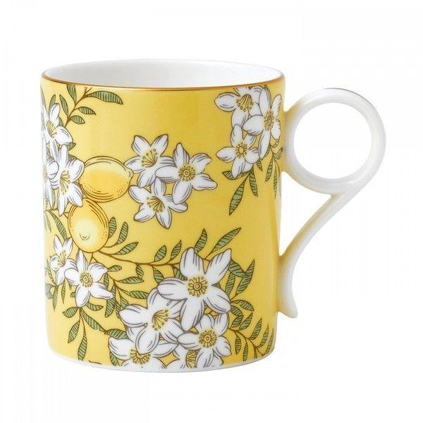 Wedgwood Tea Garden Lemon & Ginger Mug (4385 RSD) ❤ liked on Polyvore featuring home, kitchen & dining, drinkware, tea mugs, wedgwood, floral mugs and wedgwood mugs