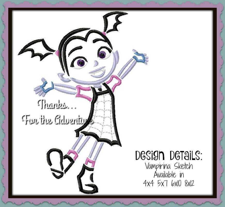 Disney Junior Vampirina Digital Embroidery Machine Sketch Design File 4x4 5x7 6x10 8x12 By