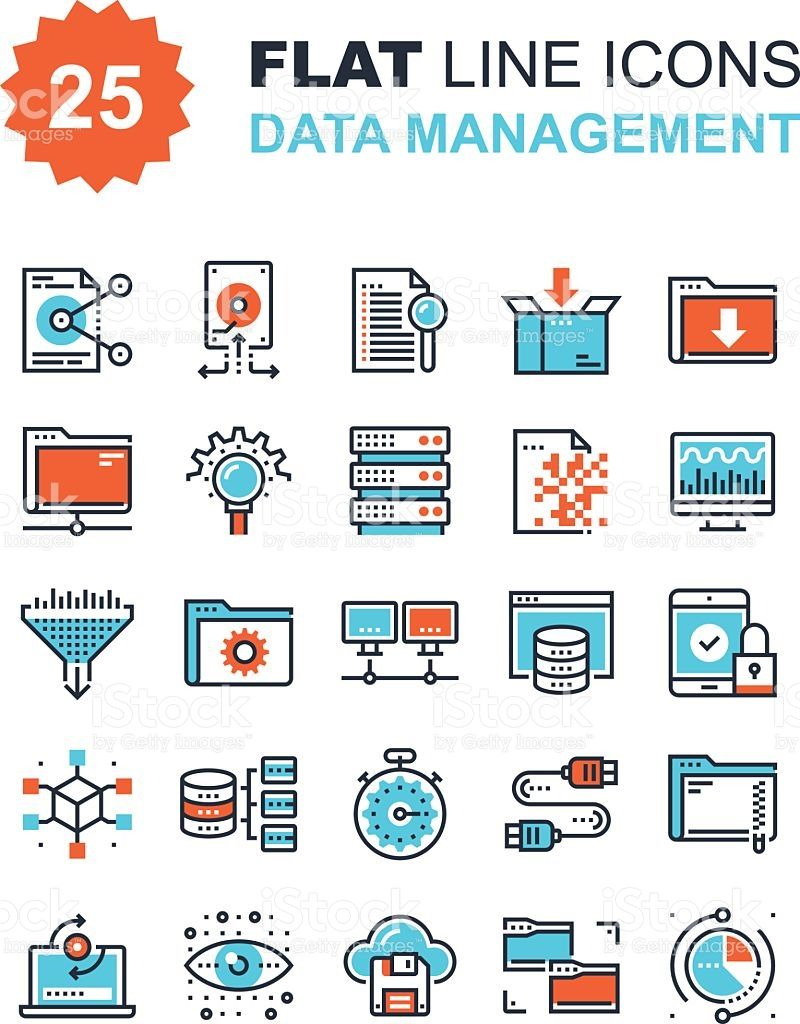 Abstract Vector Collection Of Flat Line Data Management Icons Infografika