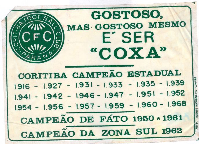 Adesivo Comemorativo Ao Titulo De 68 Historia Do Futebol Campeao