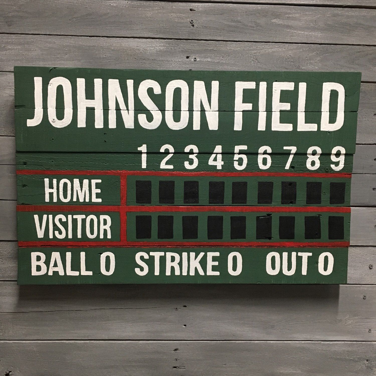 Custom Name Baseball Softball Scoreboard Wooden Painted Sign