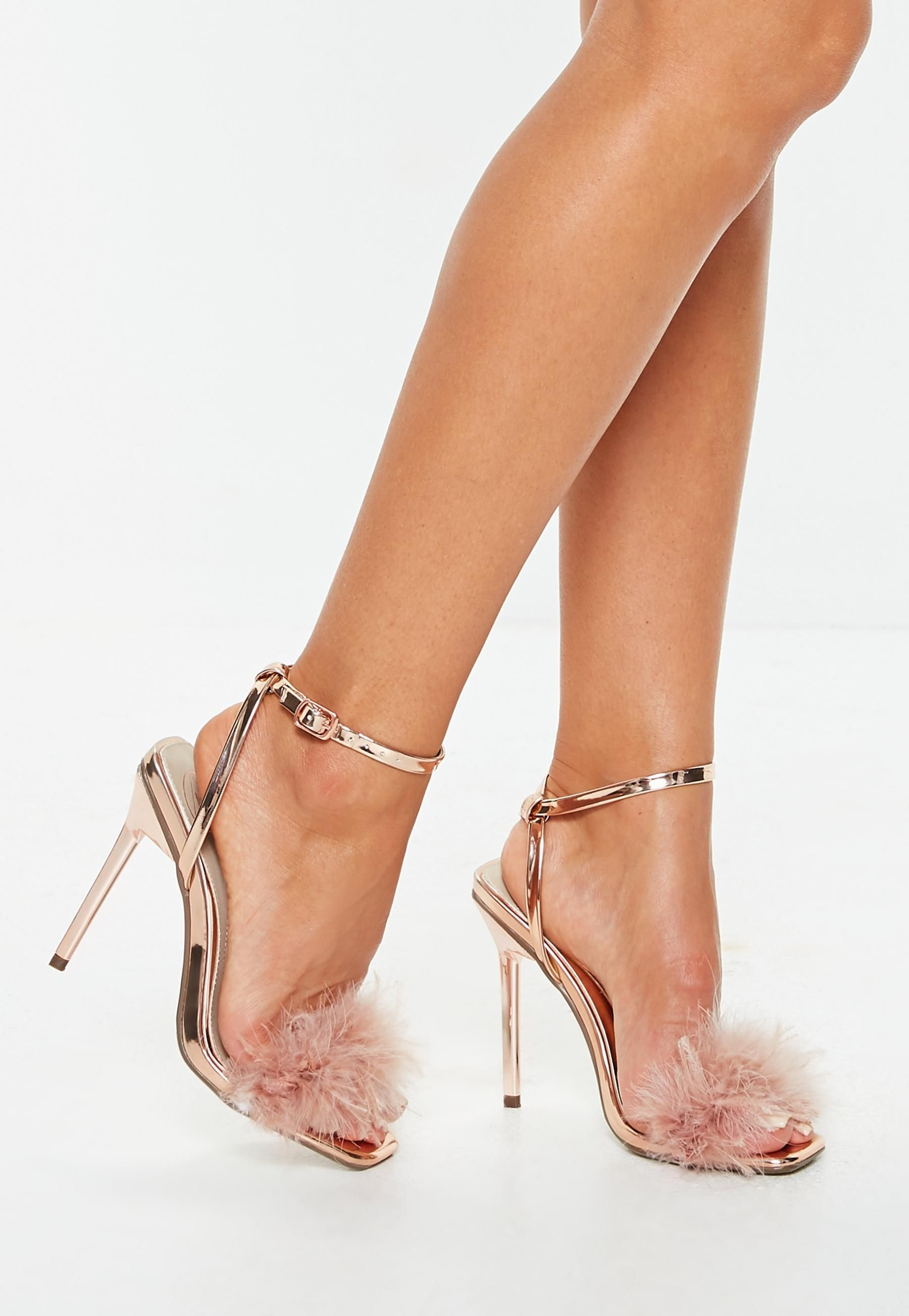 7080e6791d2 Rose Gold Shiny Feather Heeled Sandals   Missguided   Shoessss in ...