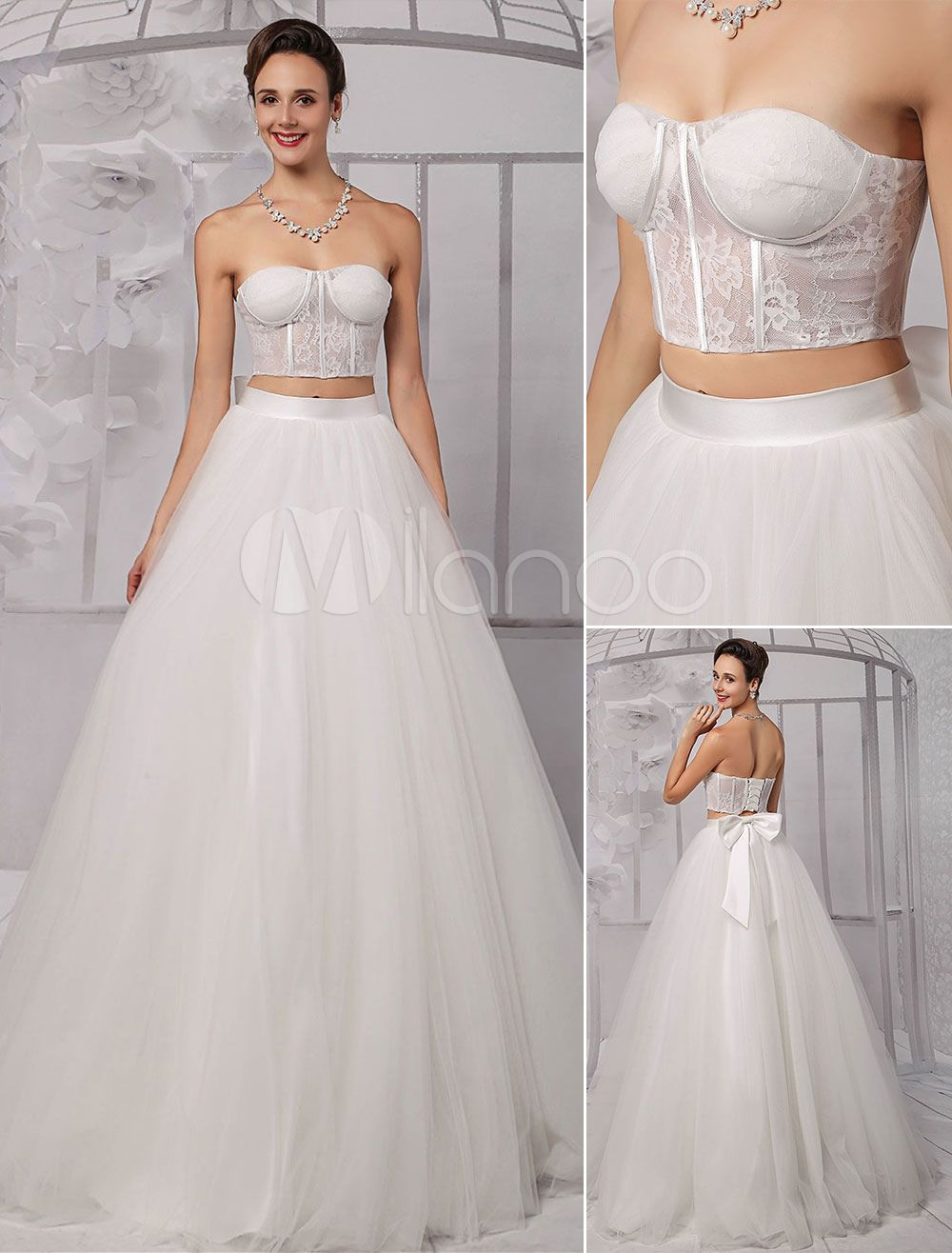 c28ddd7a2a Two-Pieces Strapless Lace Corset Crop Top Ball Gown Wedding Dress With  Tulle Skirt
