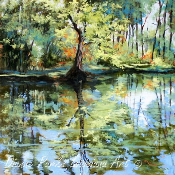 Backyard Bayou Union City Ca: Louisiana Landscape Painting, Louisiana Swamp Pond, Nature