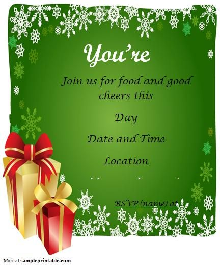 Free Printable Holiday Party Templates Free Christmas Party - christmas dinner invitations templates free