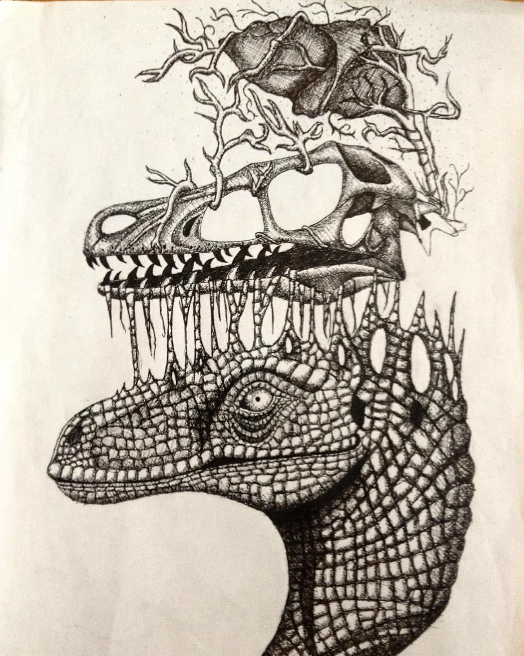 velociraptor drawing colored