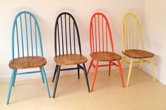 """Ercol painted consuming chairs 