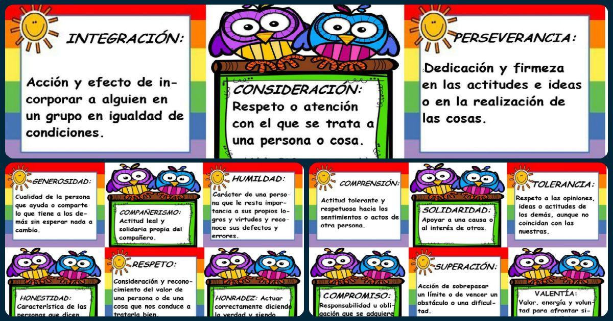 Tarjetas con los valores para decorar el aula o el sal n for Actividades para el salon de clases
